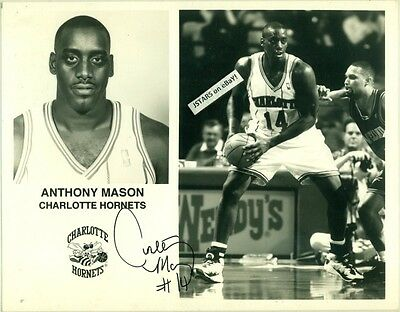 ANTHONY MASON, CHARLOTTE HORNETS, NBA BASKETBALL PLAYER, AUTOGRAPH on PHOTOGRAPH