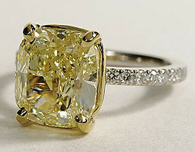 New 1.35 Ct Cushion Cut Canary Diamond Engagement Ring FY SI2 GIA 18K & Platinum