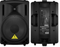 Behringer B212D Powered speakers plus stands and cases_Brand New