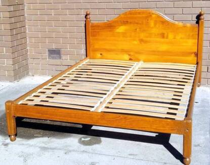 solid timber queen bed and mattress