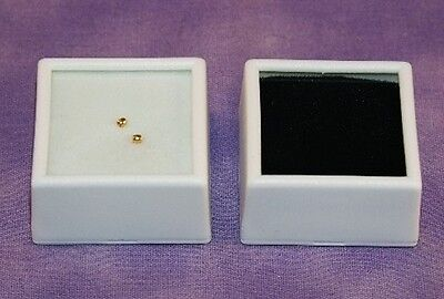 - 25 GLASS TOP GEM BOXES W/ REVERSIBLE PAD 1.5 INCH WHITE