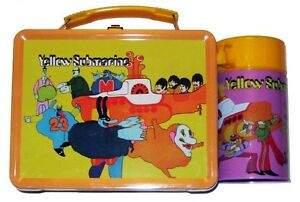BEATLES YELLOW SUBMARINE FULL SIZE TIN LUNCHBOX & DRINK HOLDER 1968 GRAPHICS