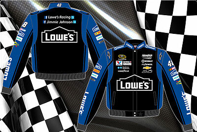 Photo Jimmie Johnson Nascar Jacket Lowe`s Racing Black Blue Trim Size XL BLOWOUT