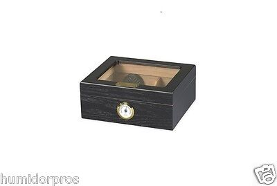 CIGAR HUMIDOR 50 ct. Glasstop Black Oak Finish with Humidifier & Hygrometer ()