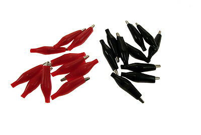 20 Pack 35mm Alligator Clips Test Probe Battery Clamp Black Red Abs201