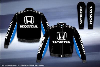 Honda Auto Racing Jacket Mens Black Cotton Twill  NEW