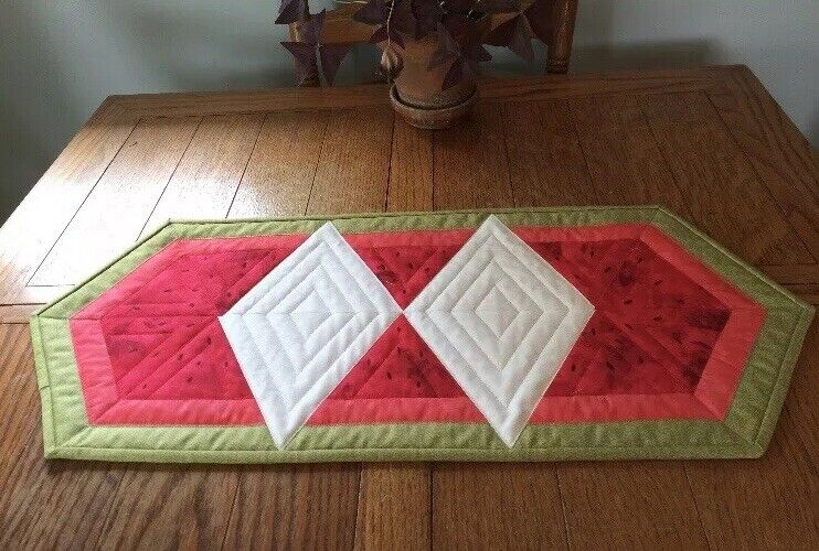 Watermelon Quilted Table Runner, Watermelon Fabric, Machine Quilted