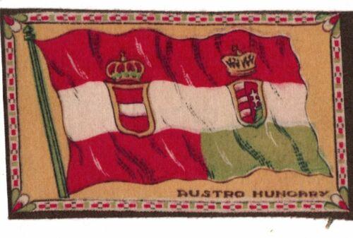 1910-1915 Cigar Box Cigarette Felt Silk Flag-AUSTRO HUNGARY-6 x 4 in-EXC. COND.