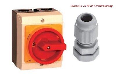 Hauptschalter Kunststoff Gehäuse 4-polig 16 A IP65 Inkl.2 x M20 Verschraubung