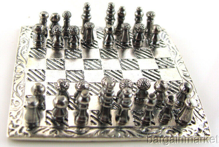 Miniature 925 Sterling Silver Chess Set & Board #499