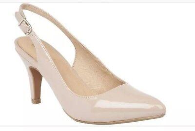 Womens Lotus - Nude Patent 'Nadia' Mid Heel Slingbacks Size UK 7  Mid-heel-slingbacks