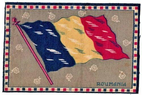 1910-1915 Cigar Box Cigarette Felt Silk Flag-ROUMANIA-8 x 6 in-EXCELLENT COND.