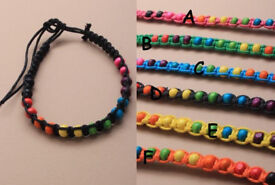 Bright coloured bead and cord friendship bracelet - JTY037