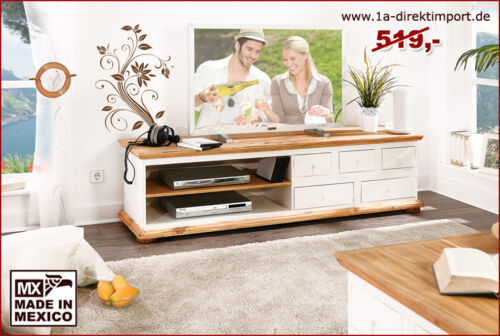 tv tisch lowboard tv bank phonotisch mexico wei honig. Black Bedroom Furniture Sets. Home Design Ideas