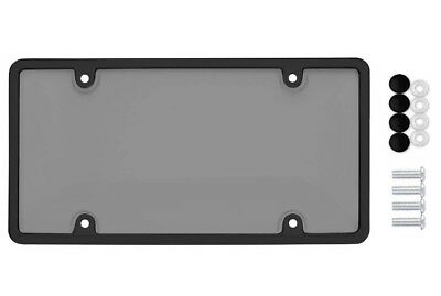 UNBREAKABLE TINTED SMOKE LICENSE PLATE SHIELD COVER + BLACK FRAME + 4 SCREW - Unbreakable Bubbles