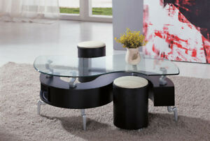 S shaped glass top table w/modern storage & 2 stools