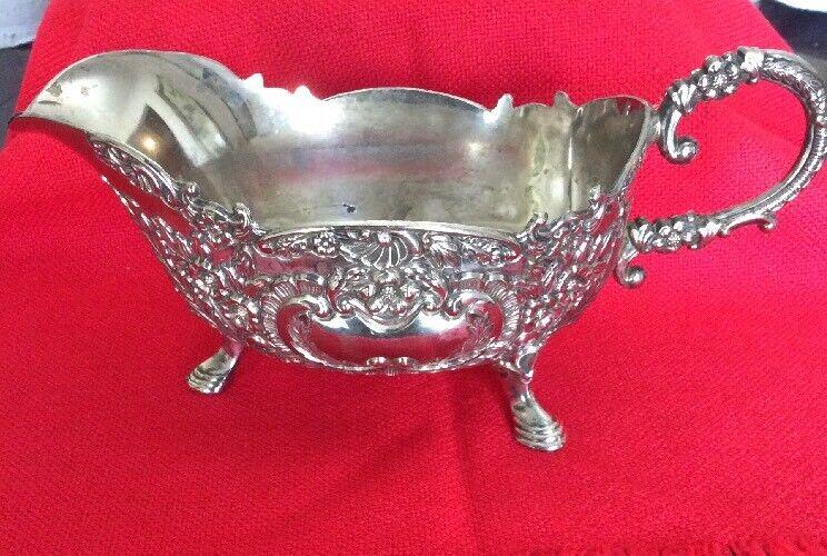 antique Repousse Sauce / Gravy Boat silverplate