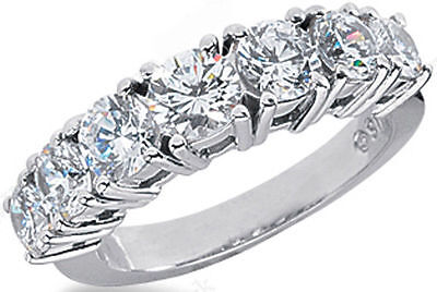 1.95 carat 7 Diamond Wedding Ring Anniversary 14K White Gold Band F VS