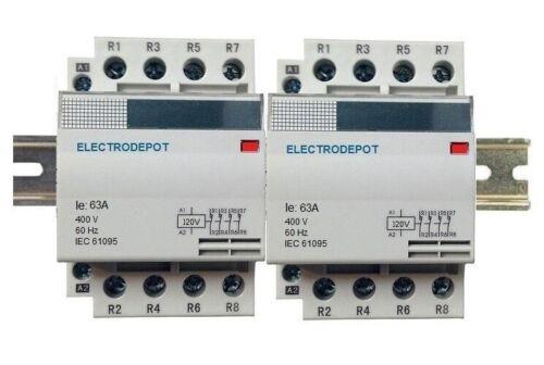 8 Pole Lighting Contactor 60A Silent N/O 110 120V Coil, 30Amp 40A 50A DIN Rail