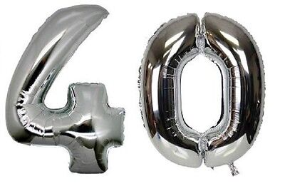 16 inch 40 Silver Number Balloons 40th Birthday Party Anniversary Foil Balloon