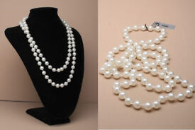 "48"" Faux pearl bead rope necklace. - JTY321"