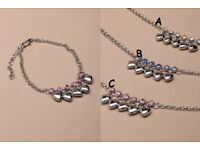 Silver coloured anklet chain with trailing hearts and crystals. - JTY118