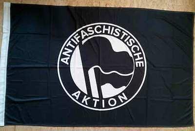 Flagge schwarz Motiv Antifaschistische Aktion schwarz-weiß - 150x100 cm