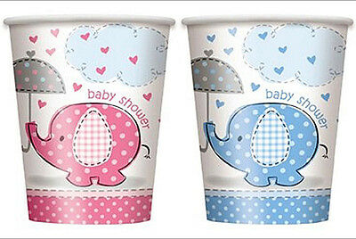 Umbrella Elephant Baby Shower Cups Pink Blue Girl Boy Party Supplies - Elephant Baby Shower Party Supplies