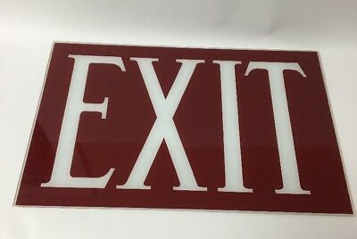 Vtg New Old Stock Nos Art Deco Reverse Painted Glass Exit Sign 15 12 X 10