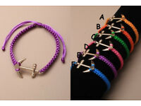Brightly coloured cord friendship bracelet with Anchor hope charm - JTY129