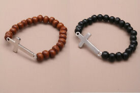 Stretch wooden bead bracelet with silver coloured metal cross. In black or brown. - JTY153