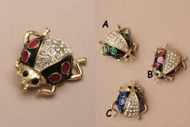 Crystal Ladybird brooch. AVAILABLE IN BLUE ONLY - JTY218