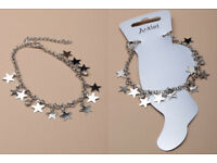Silver coloured anklet chain with trailing star charms. - JTY119