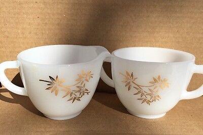Federal Glass White/Gold Bamboo Leaf Creamer & Sugar Bowl Set Vtg Bamboo Leaf Bowl
