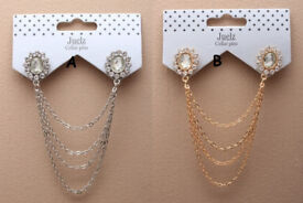 Crystal flower collar pins with cascaiding chains - JTY232