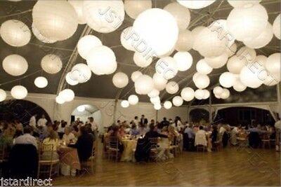 "2/5/10 White/Ivory Round Paper Lantern 8""10""12""16"" Wedding Party with Led Light"
