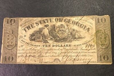 1864 $10 Milledgeville The State of Georgia Obsolete Civil War CR-25 Note