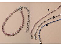 1 Row coloured crystal diamante anklet chain. - JTY117