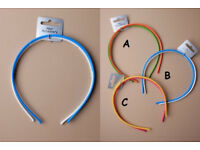 Card of 2 brightly coloured 4mm narrow alicebands. In 3 colourways - JTY405