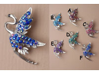 Silver coloured flying crane bird brooch - JTY225