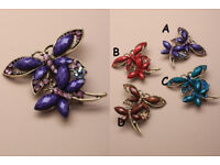 Crystal Gold Coloured Butterfly Brooch. - JTY226