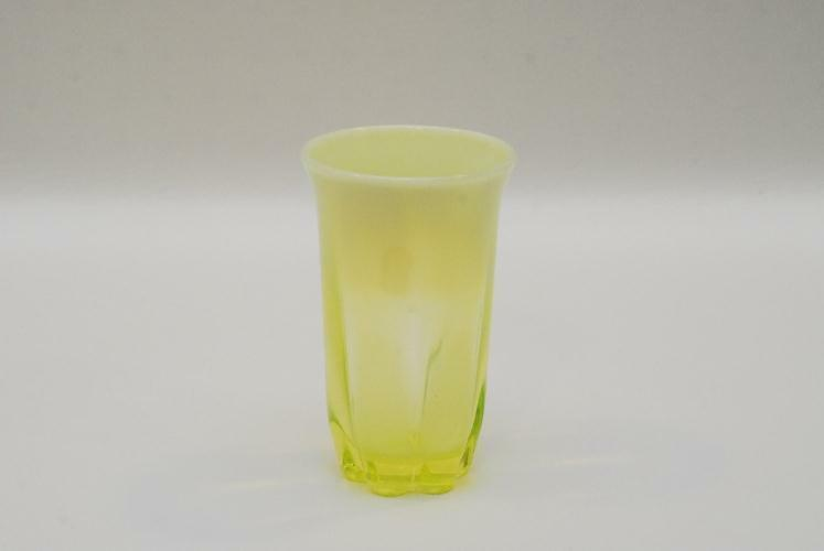 Ducnan Miller Canterbury Vaseline Opalescent Tumbler Tumblers 5.5 Inch