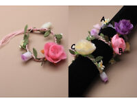 Plaited cord and fabric flower bracelet. In cream/lilac and pink. - JTY205