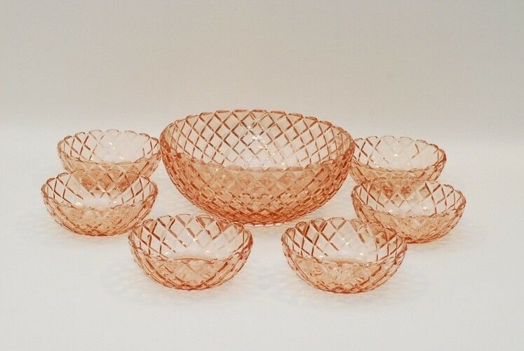 7 Pc Hocking Waterford Waffle Pink Berry Bowl Set