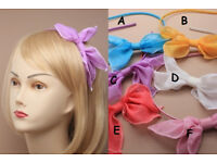 Fabric covered aliceband with chiffon fabric bow - JTY398