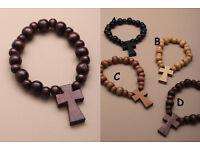 Stretch wooden beaded bracelet with wooden cross - JTY104