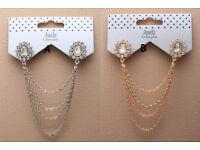 Crystal flower collar pins with cascaiding chains - JTY232