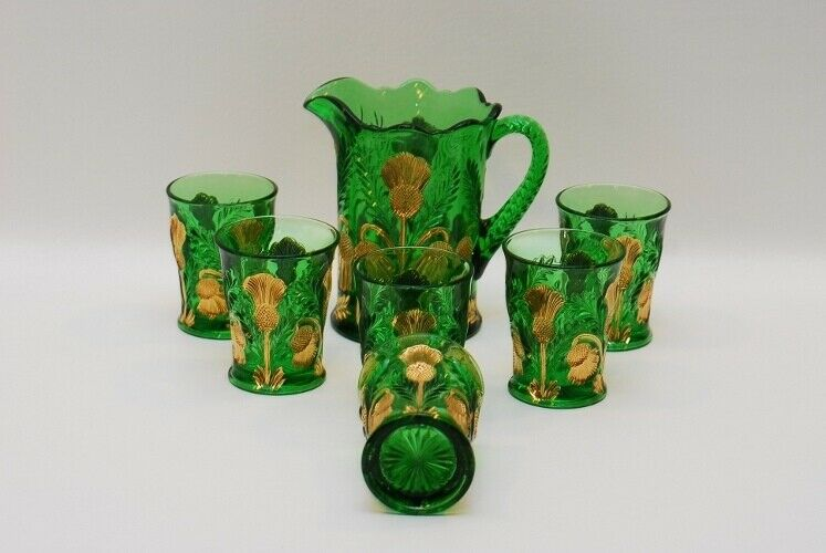 Mosser Inverted Thistle Gold Green Pitcher & 6 Tumbler Tumblers