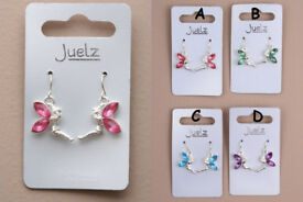 Pair of Coloured Crystal Wing Fairy Earrings. - JTY292