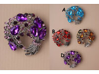 Swirl coloured cluster stone brooch - JTY229